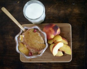 Creamy Peach Berry Cobbler