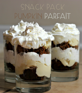 This three-ingredient pumpkin parfait is made easy with Snack Pack vanilla pudding and Reddi Wip. Perfect for fall, Halloween, & Thanksgiving. #SnackPackMixins#shop