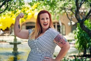 Tattooed mom, strong woman