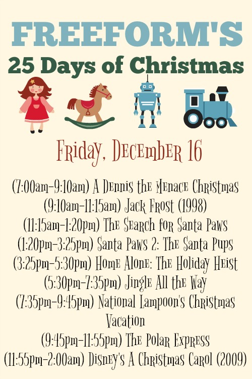 What Christmas Movies are on today? December 16
